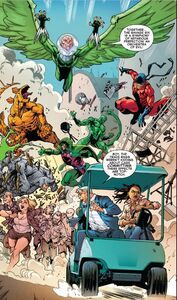 Savage Six (Kraven's) (Earth-616) ,Adrian Toomes (Earth-616) Vincent Stegron (Earth-616), Aleksei Sytsevich (Earth-616) ,Anton Miguel Rodriquez (Earth-616) and MacDonald Gargan (Earth-616) from Amazing Mary Jane Vol 1 3 0001