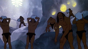 Sub-humans throwing rocks