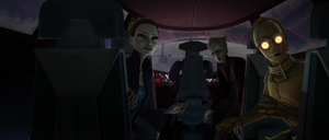 Chancellor Palpatine Padmé seated
