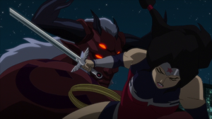 Trigon takes down Wonder Woman JLvsTT