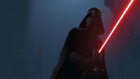 Darth Vader brandishes