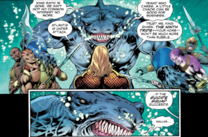 Aquaman ask help King Shark once again.