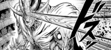 Orochi extends his horn to pierce Awakened Cockroach