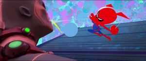 Spider-Ham about to punch Scorpion