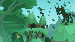 The changelings swarm the village