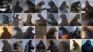 Godzilla film incarnations between 1954 and 2017
