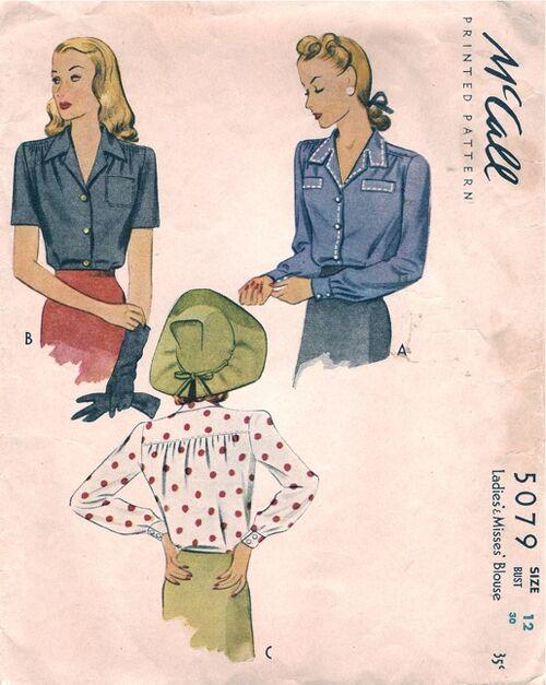 McCall5079 1943 Blouse