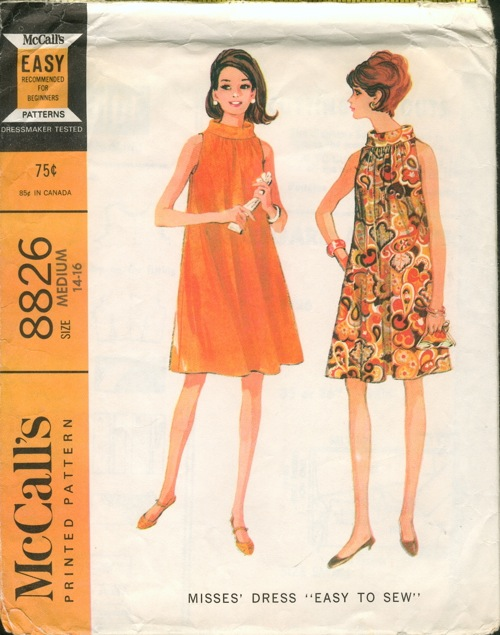 McCall's 8826; ©1967; Misses' Dress. Sleeveless flared dress, with bias  roll collar, has high cut armholes and center back zipper.