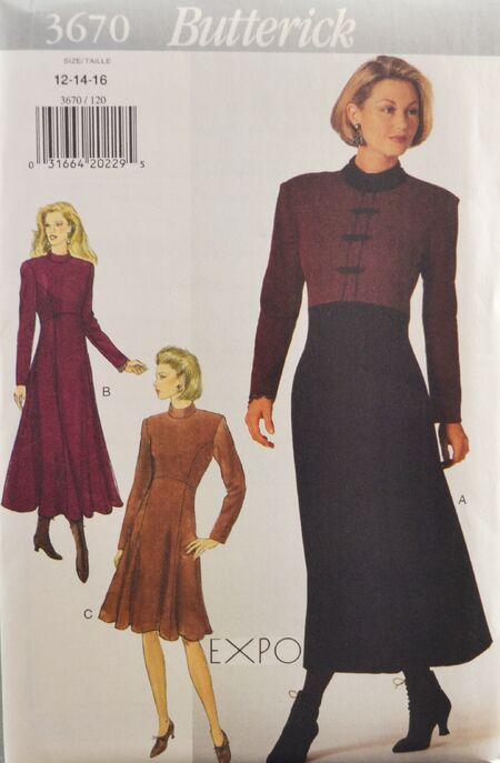 Butterick 3670 Misses' Dress 1
