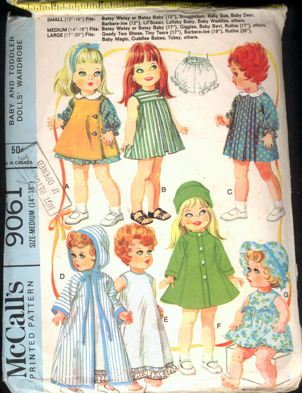 """McCall's 9061; ©1967; Baby and Toddler Doll's Wardrobe. Clothes fit: Betsy  Wetsy or Betsy Baby (17""""), Giggles, Baby Bevi, Ruthie (17""""), others."""