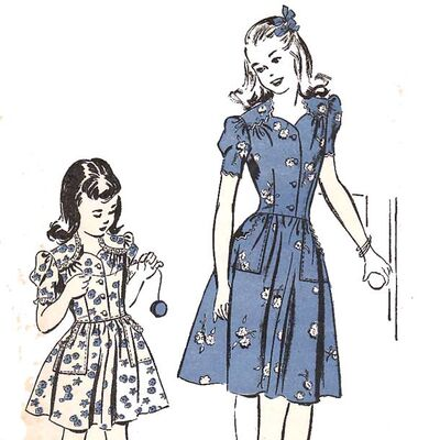 Alt=1940 advance 3831 vintage sewing pattern girl dress sweetheart