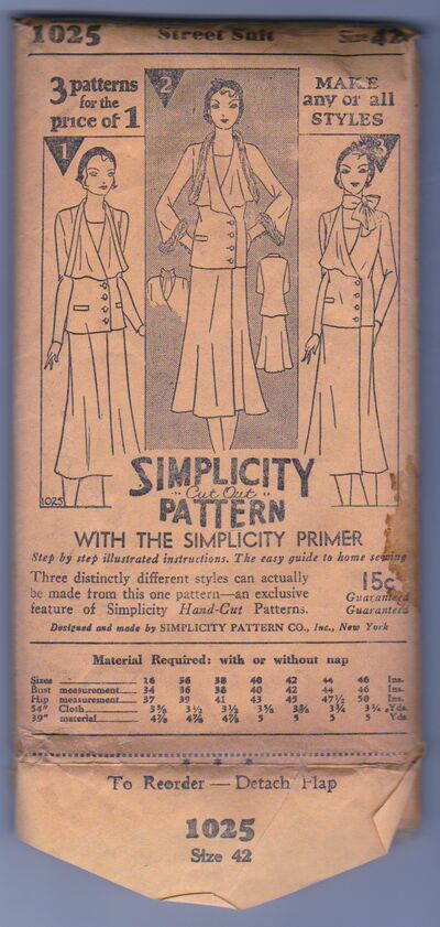 Simplicity 1025 Vintage Sewing Pattern 1930s 1