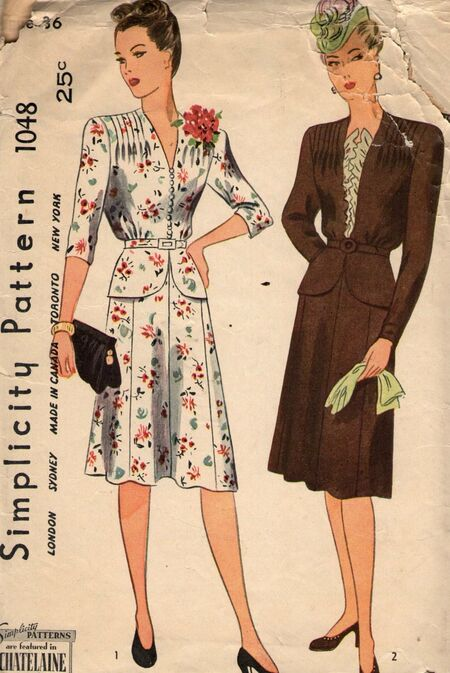 Vintage 1940s dress pattern from Penelope Rose at Artfire