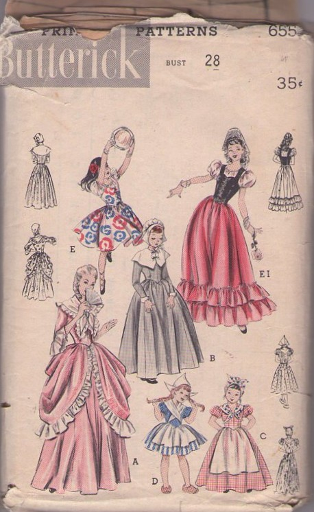 Butterick 6551; ca. 1953; COSTUMES: EARLY AMERICAN, DUTCH AND SPANISH. All  in one pattern. (A) Colonial costume has a pannier overskirt. (B) Puritan  girl.