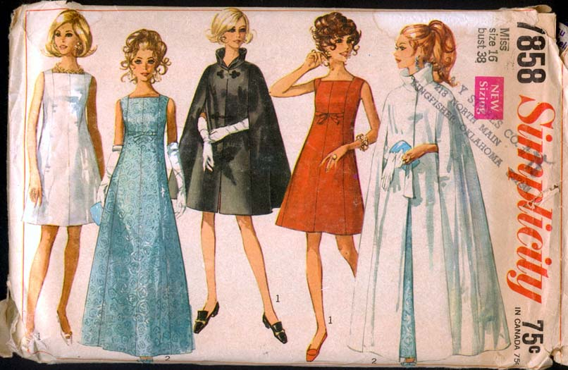 Simplicity Sewing Patterns Canada 1960s Elegant Mad Men Evening Cocktail  Wiggle Dress Gown