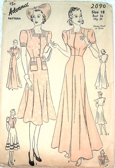 Advance -2090 House Coat or Dress date 1930s a
