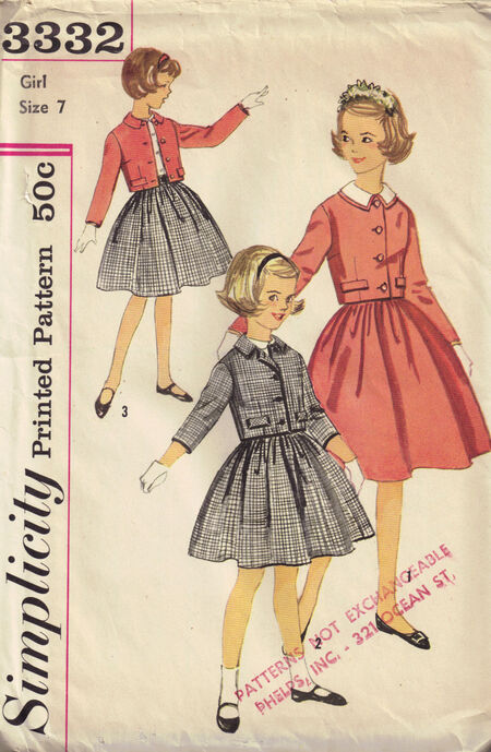 Simplicity 3332 girls size 7