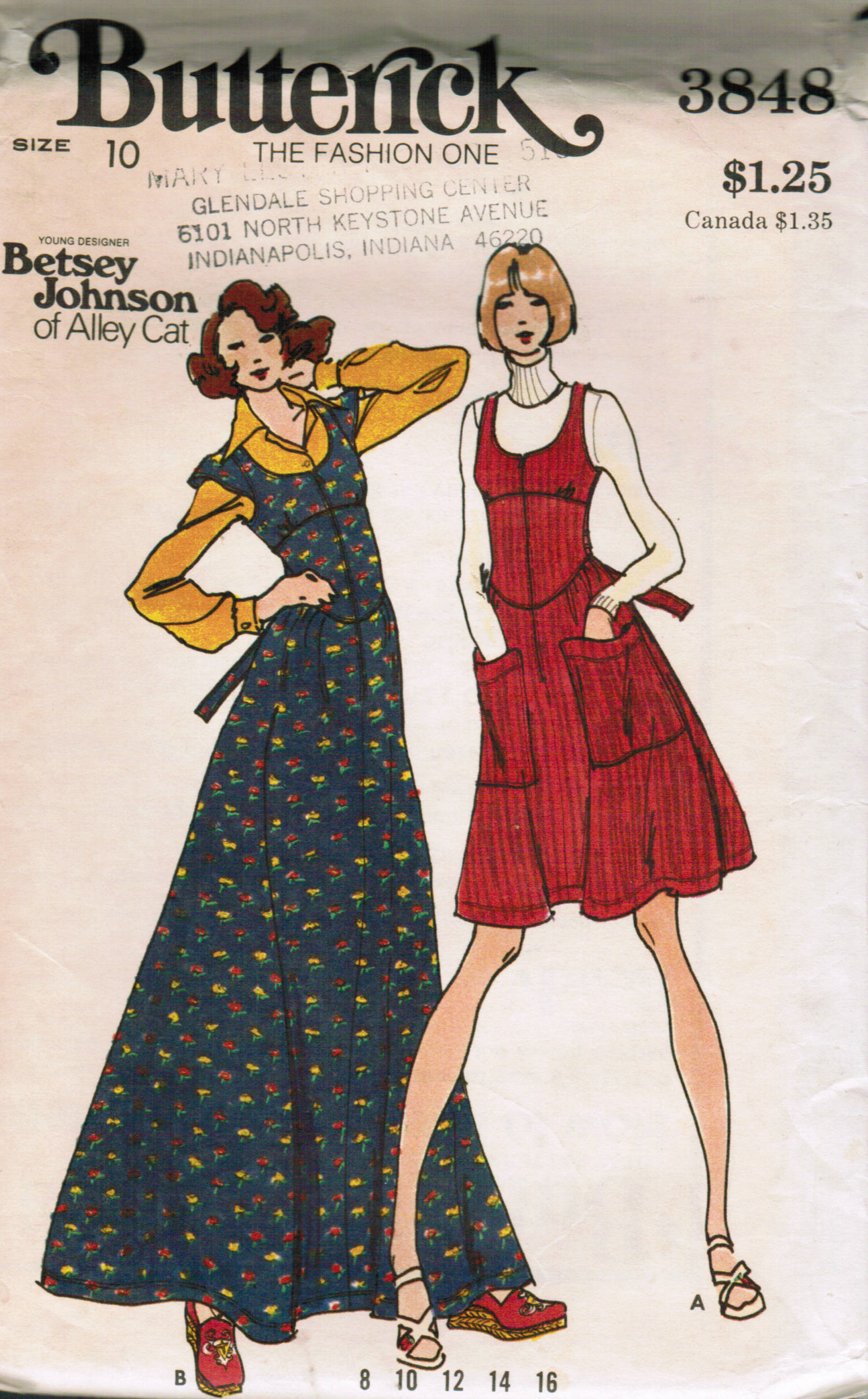 1970s; by Betsey Johnson of Alley Cat. Jumper in two lengths has close fitting bodice lined to edge cutaway armholes U neckline shaped inset midriff ... & Butterick 3848 | Vintage Sewing Patterns | FANDOM powered by Wikia