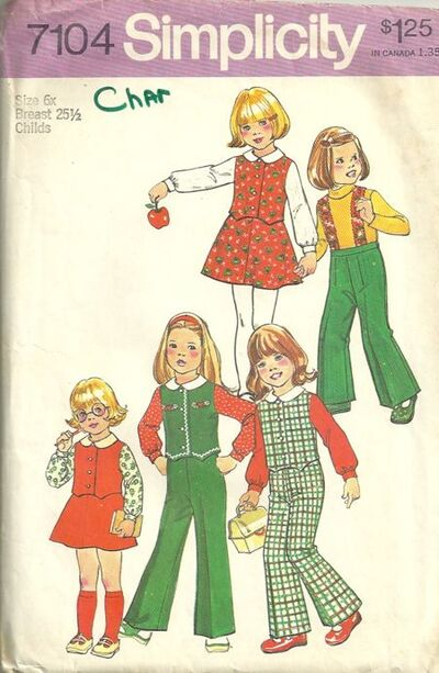 Simplicity 7104 Child's Pants and Skirt Detachable Suspenders and Top