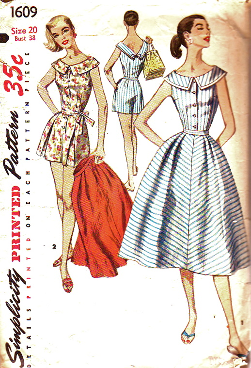 5e4c11b67bc Simplicity Pattern 1609 Vintage Plus Size Perky Playsuit and Skirt
