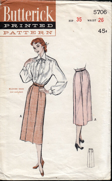 Vintage butterick 5706 trouser skirt 1950s at Penelope Rose at Artfire