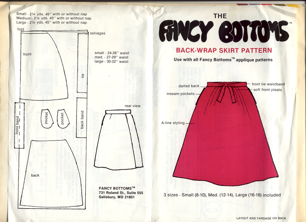 Fancy Bottoms Back-Wrap Skirt Pattern | Vintage Sewing Patterns ...