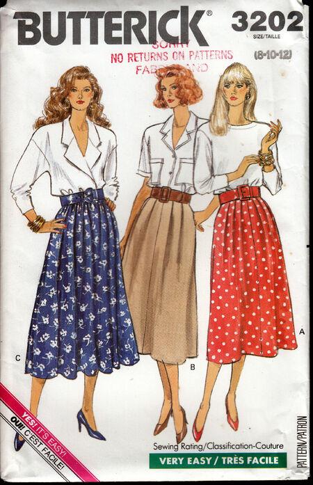 Vintage Butterick 3202 skirt 1980s at Penelope Rose at Artfire