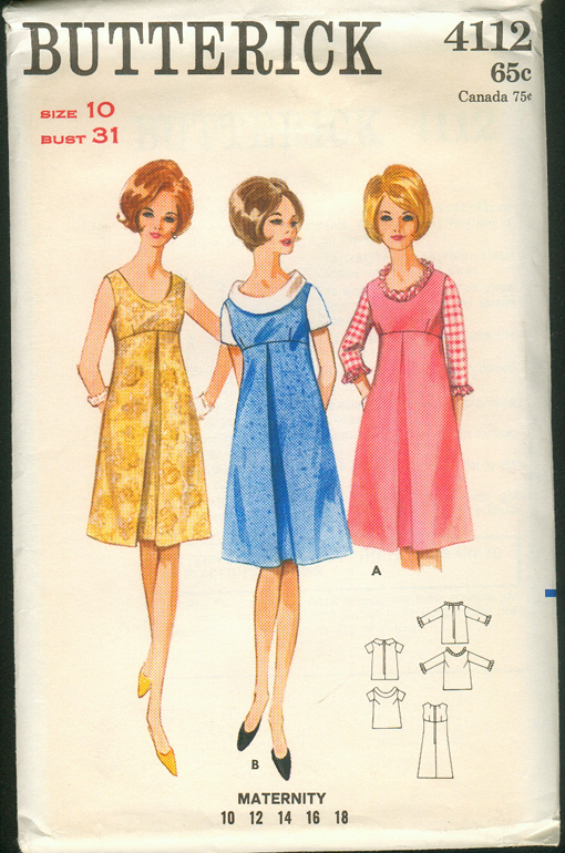 270e0ba257b Butterick 4112  1960s  Maternity Dress or Jumper   Blouse. Slightly A-line  empire style dress or jumper has inverted front pleat and U-shaped neckline.