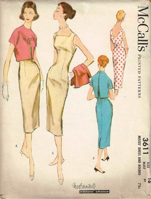 C1956 3611 McCalls Dress Size16