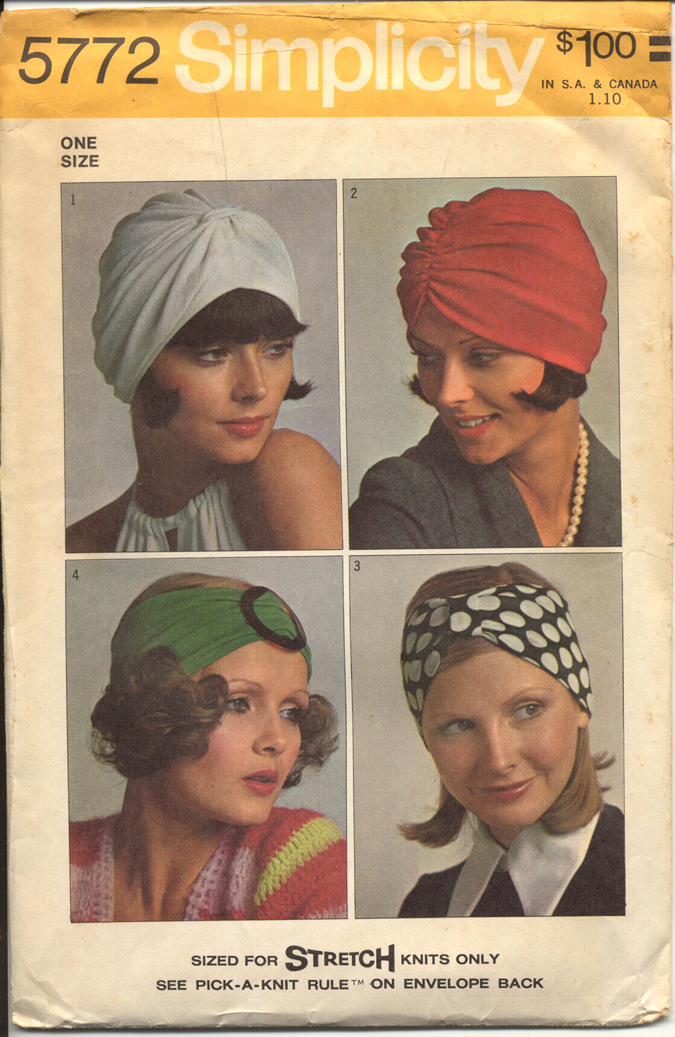 Simplicity 5772; ©1973; Set of Turbans - One Size (Sized for Stretch Knits  Only): Gathered turban V. 1 with band has self fabric knot slipped through  ...