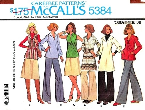 McCall's 5384; ©1976; Misses' and Half Size Set of Tops: Pullover tops have  square armholes, side vents and optional purchased belt.