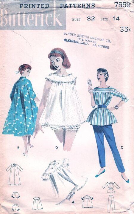 7559B-1950s Nightwear
