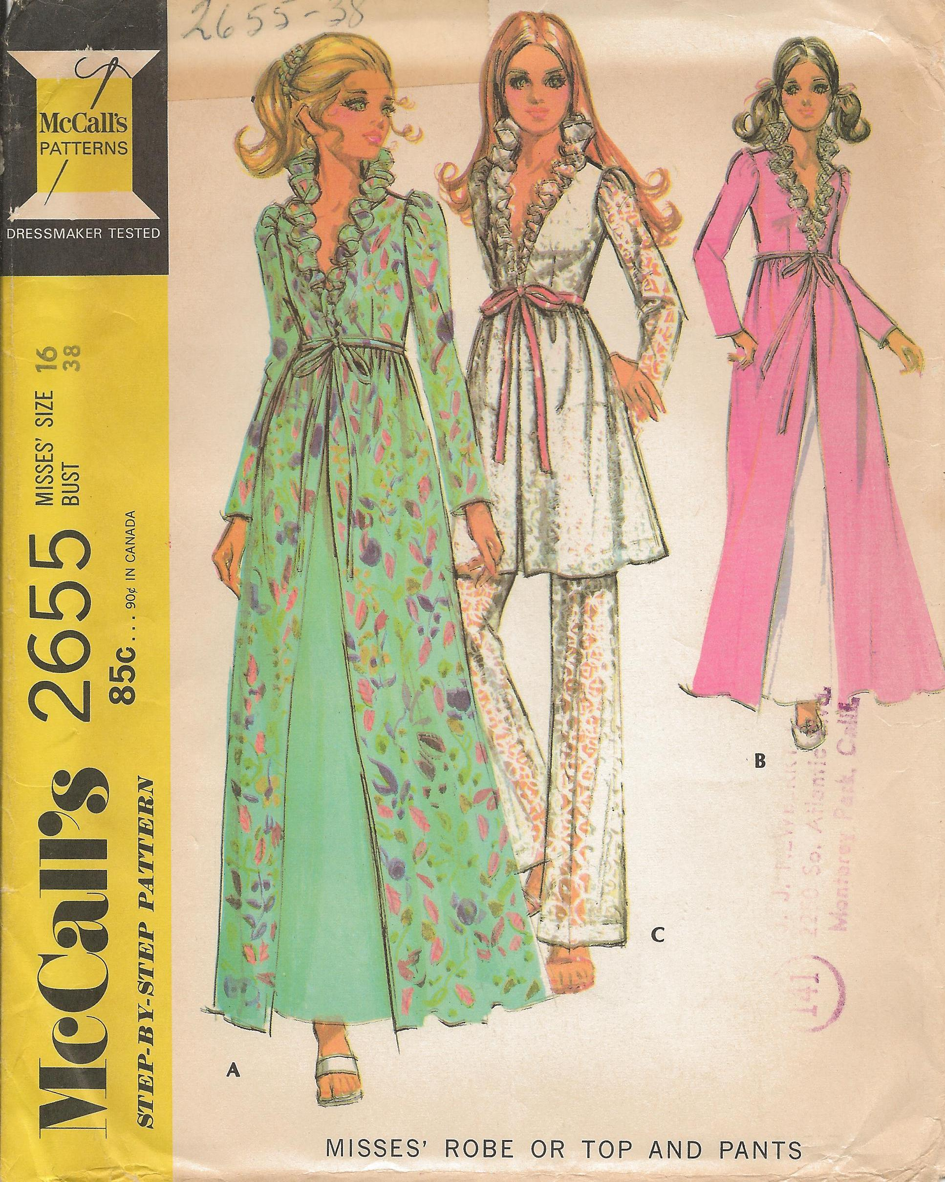 Mccalls 2655 a vintage sewing patterns fandom powered by wikia high waisted robe or top has lined bodice lace or fabric ruffles at neck sleeves gather into high cut armholes jeuxipadfo Gallery