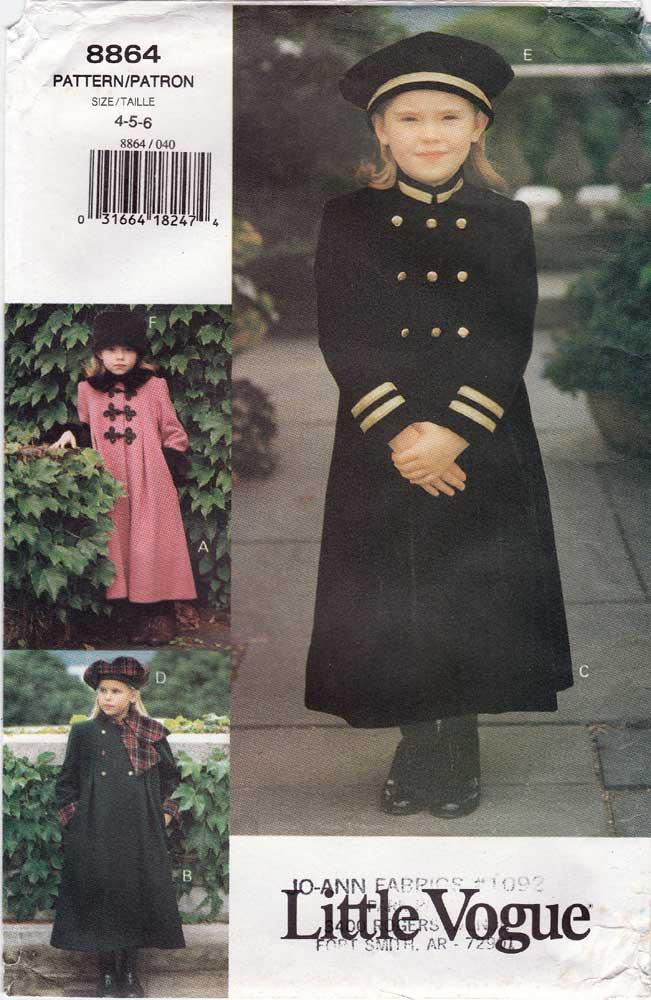 3b9c37a7ff5 Vogue 8864  ©1993  Children s Girls  Coat   Hat. Loose fitting