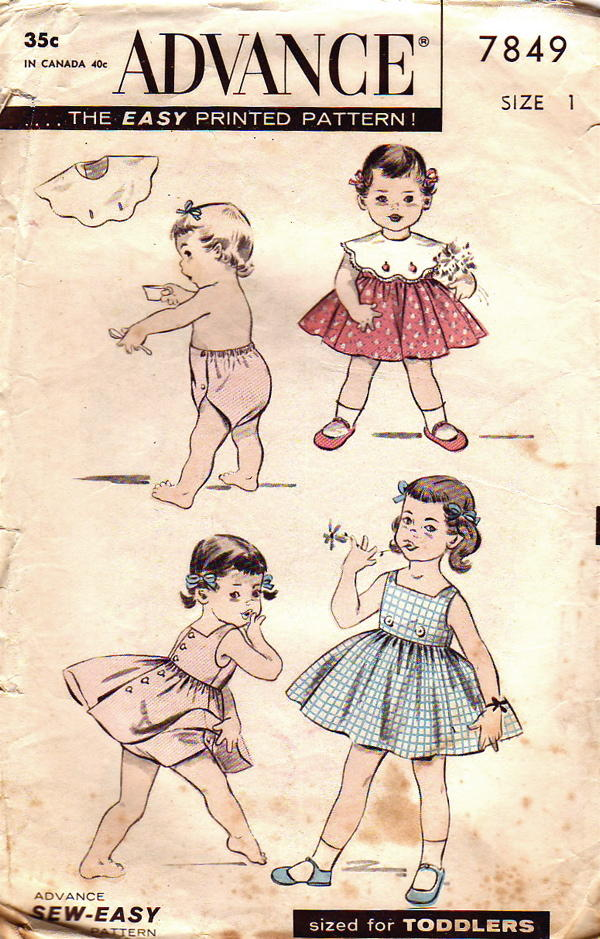 "Advance Pattern 7849 Vintage Sew Easy Toddlers Bib, Dress and Panties from  1956. This includes; ""Sew Easy"" Design: Sleeveless, back buttoned Dress."