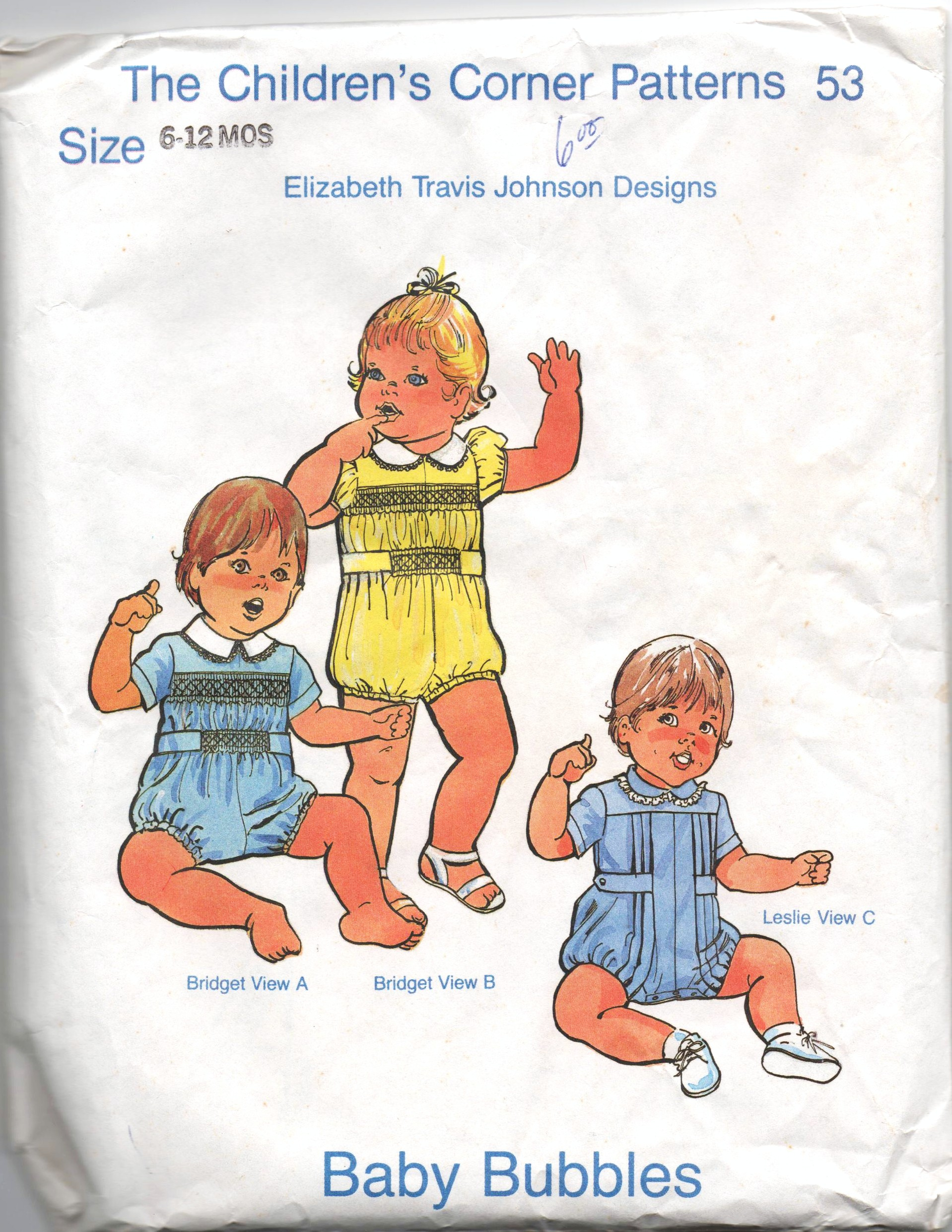 b63c056c6 Children's Corner Patterns 53; ©1981; Baby Bubbles Bridget is a smocked  romper designed for both boys and girls. It is smocked in the front only at  the yoke ...