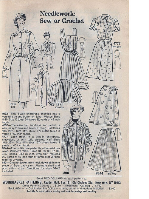 Mail Order 4777 4852 9132 9344 Sewing Pattern