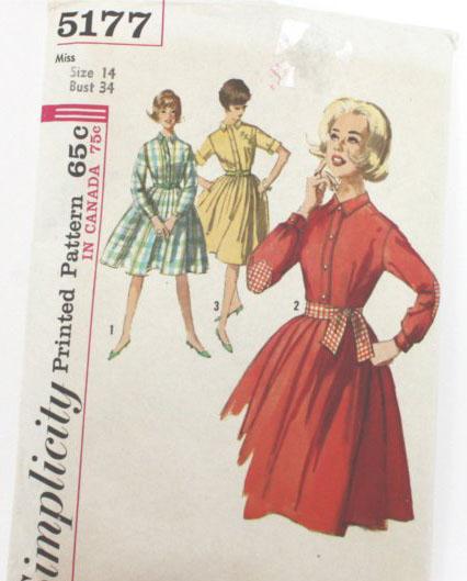 Vintage Simplicity Misses Size 14 Dress Pattern, 5177-1