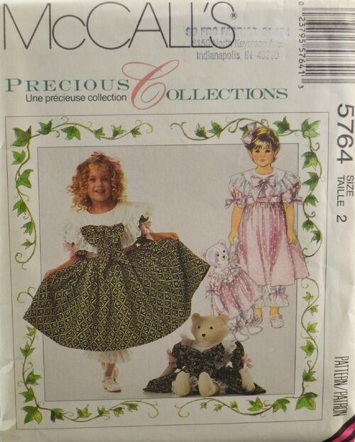 McCall's 5764 Child's Dress & Bear Doll 1
