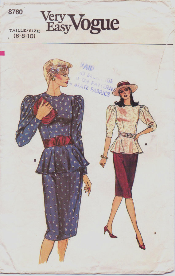 Vogue 8760 A | Vintage Sewing Patterns | FANDOM powered by Wikia