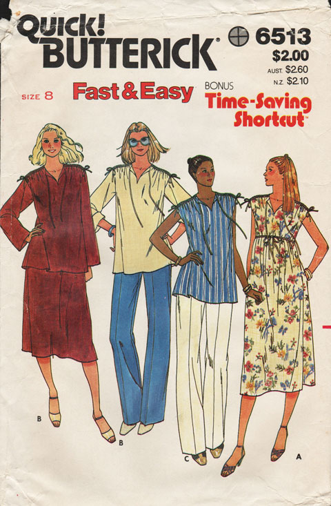1f59ac7be7a7b Butterick 6513; ca. early to mid 1980s; Maternity Dress, Belt, Tunic, Pants  & Skirt. Loose-fitting sleeveless dress five inches below mid-knee with  side ...