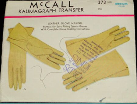 McCalls 373 Vintage 1930s Glove pattern image