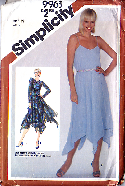 Simplicity 9963; ©1981; Misses' Pullover Dress with Handkerchief Hem ...  Adjustable for Miss Petite: Slip type dress with sheer overdress has skirts  ...