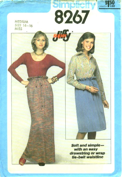 157dcaf171 Simplicity 8267  1977  Misses Super Jiffy Skirt in Two Lengths  The long or  short length skirt can be made with drawstring thru waistline casing on  inside ...