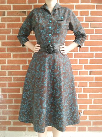 Butterick 6710 in brown and turquoise