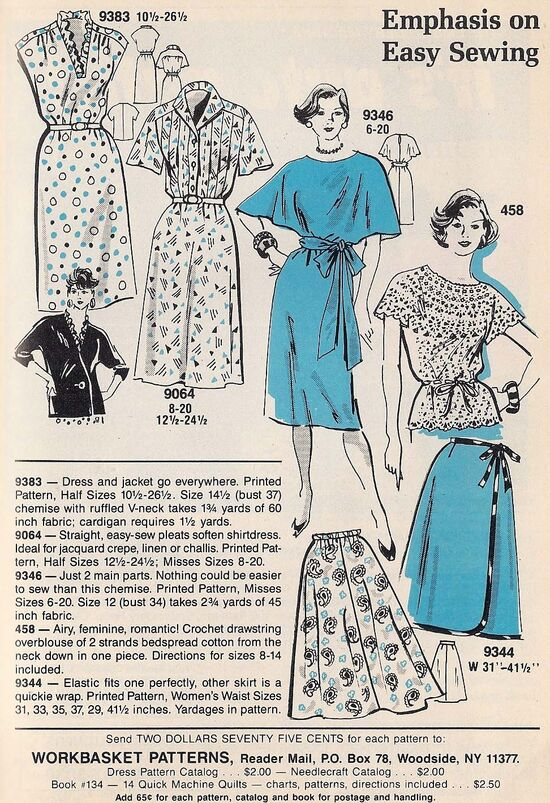 Mail Order 9383 9064 9346 458 9344 Sewing Patterns