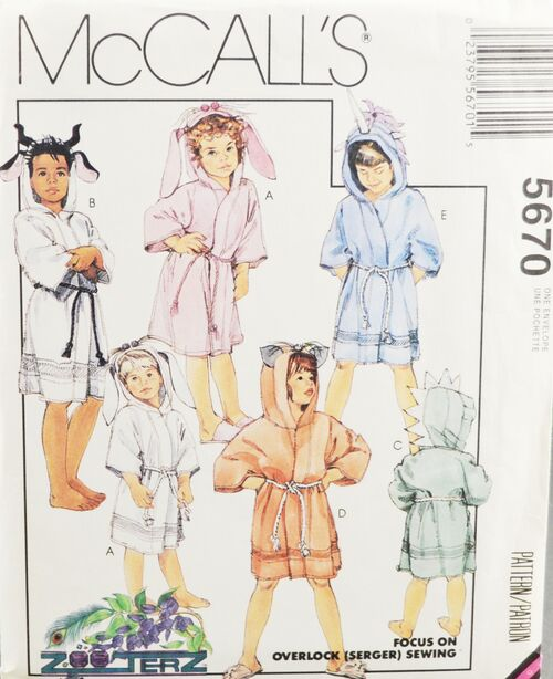 McCall's 5670 Kids Novelty Robes 1