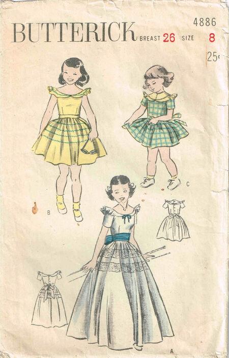 C1940s 4886 Butterick Girls Dress Size 8