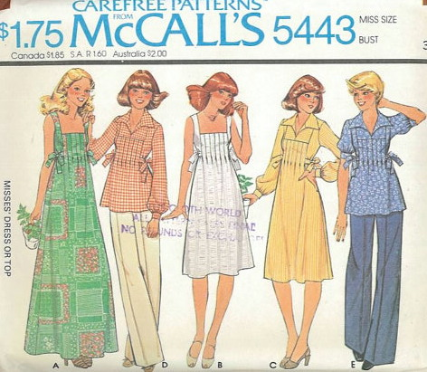 58dc25fb41c6 McCall s 5443  ©1977  Misses  Dress or Top. Pullover dress and top have  front inside tucks and tie belts tied at sides. Sleeveless dress A