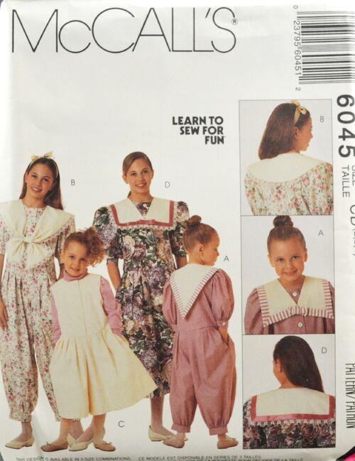 McCall's 6045 Girls' Jumpsuit Dress Top 1